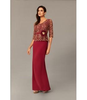 Vestido largo madrina guipur bicolor